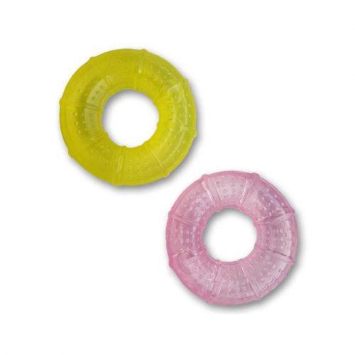 Gekleurde bijtring roze en geel
